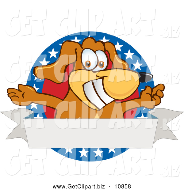 Clip Art of a Happy Brown Dog Mascot Cartoon Character with Open Arms with a Blank Label