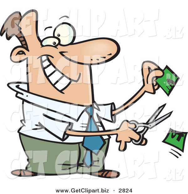 Clip Art of a Happy Business Man Cutting Money in Half on White