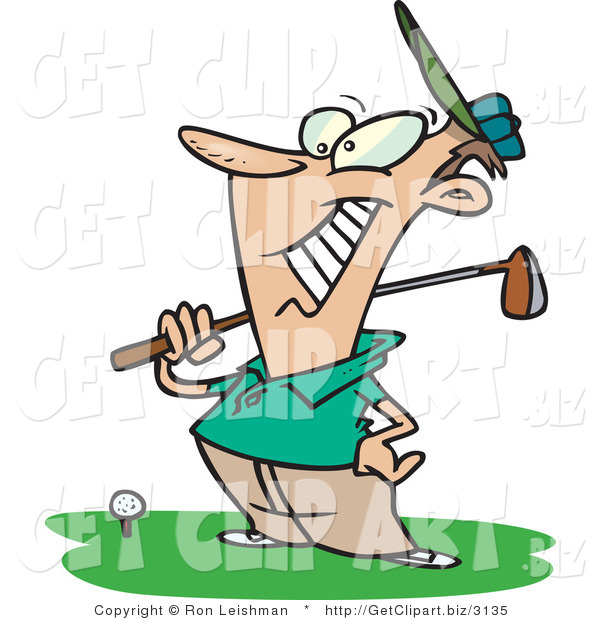 Clip Art of a Happy Male Golfer near a Ball on a Tee, Holding His Golf Club