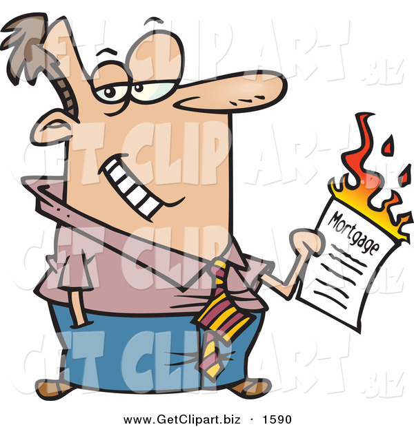 Clip Art of a Happy Man Burning His Mortgage Papers