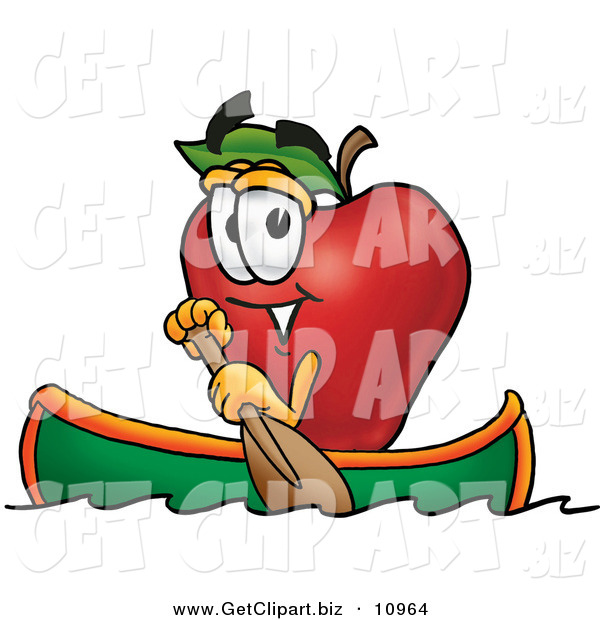 Clip Art of a Happy Outdoorsy Red Apple Character Mascot Rowing a Boat