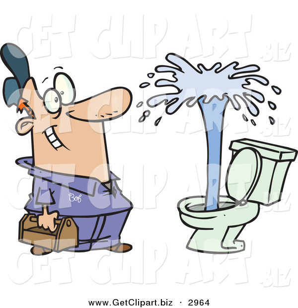 Clip Art of a Happy Plumber Man Viewing a Geyser in a Toilet