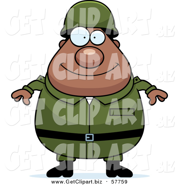 Clip Art of a Happy Plump Black Army Man