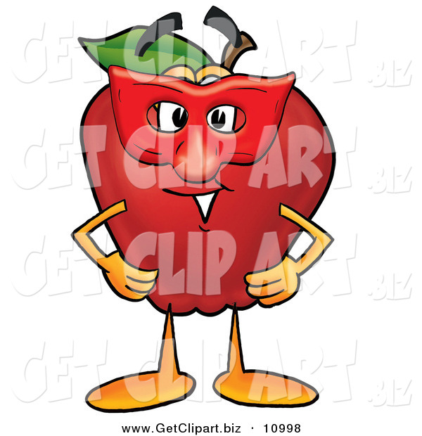 Clip Art of a Happy Red Delicious Apple Character Mascot Wearing a Red Mask on Halloween
