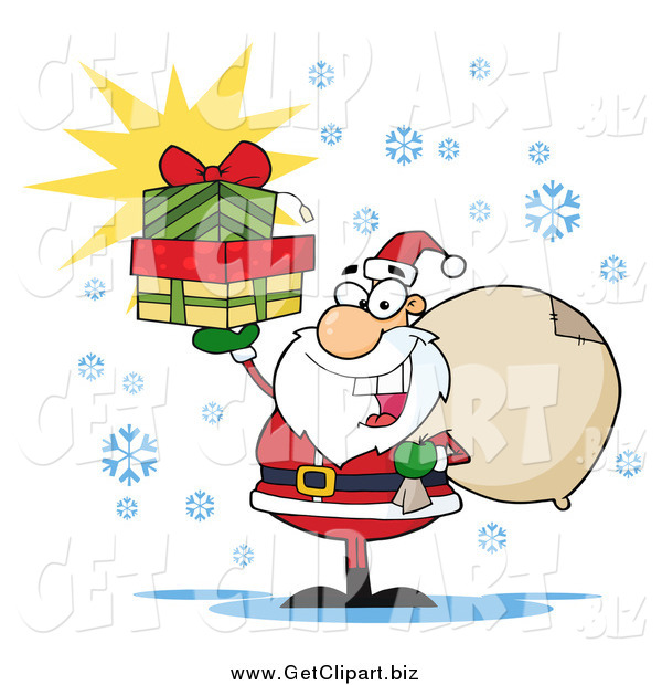 Clip Art of a Happy Santa Holding a Sack over His Shoulder and Presents up in His Hand
