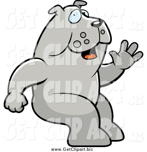 Clip Art of a Happy Sitting Bulldog Waving