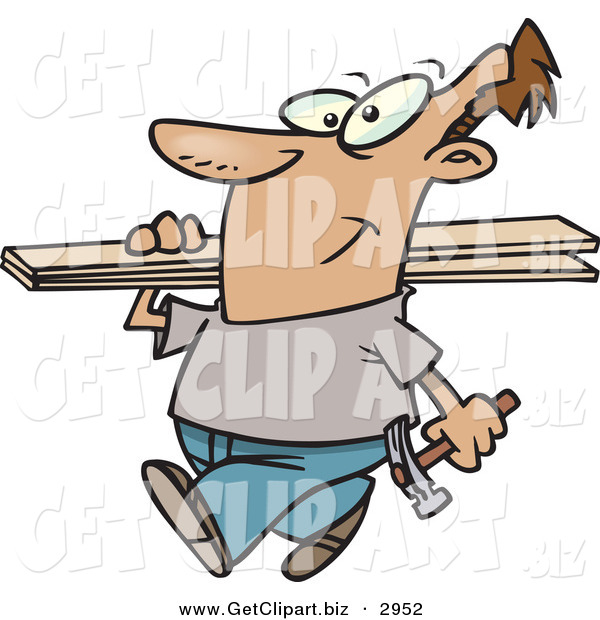 Clip Art of a Happy White Man Carrying a Hammer and Fence Boards
