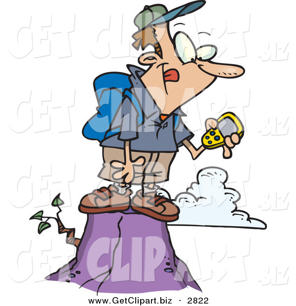 Clip Art of a Hiker Man on Top of a Mountain, Using a GPS over White