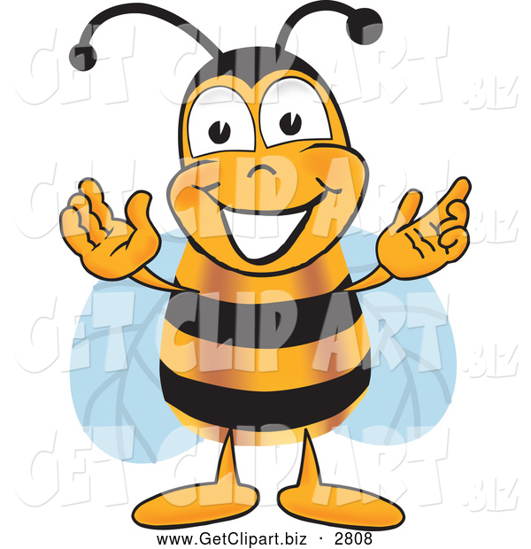 Clip Art of a Honey Bee Mascot Cartoon Character Greeting with Open Arms