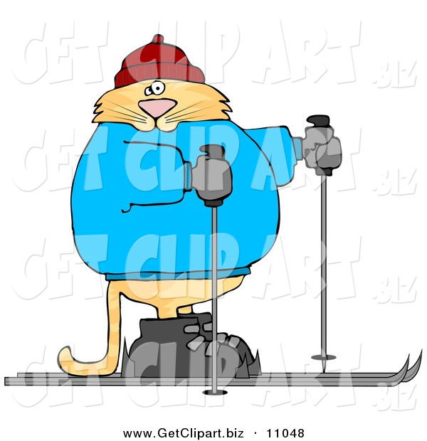 Clip Art of a Human-like Cat Cross-country Skiing on Snow