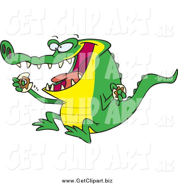 Clip Art of a Hungry Alligator Eating a Donut