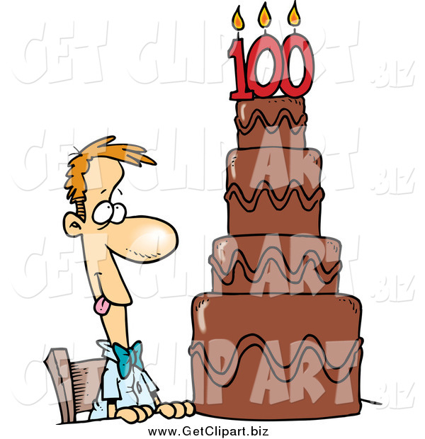 Clip Art of a Hungry Caucasian Guy Drooling over a 100 Birthday Cake
