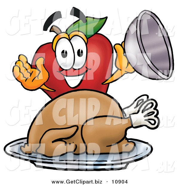 Clip Art of a Hungry Red Apple Character Mascot with a Cooked Thanksgiving Turkey on a Platter