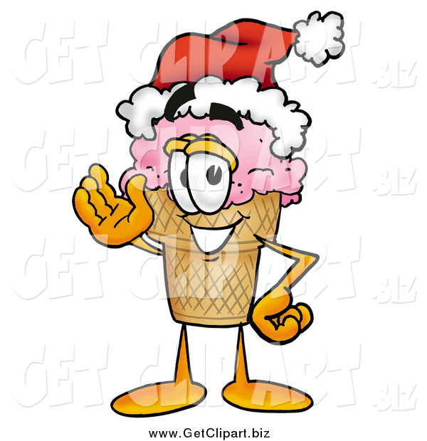 Clip Art of a Ice Cream Cone Character Wearing a Santa Hat and Waving