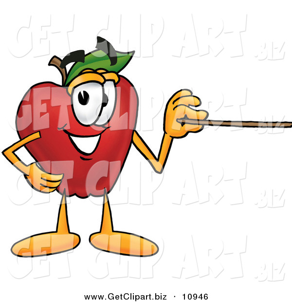 Clip Art of a Improvement to Clipart HelperRed Apple Character Mascot Using a Pointer Stick