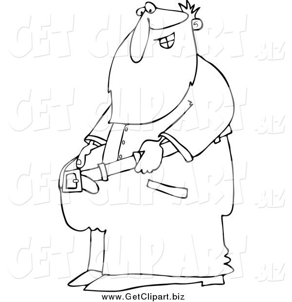 Clip Art of a Lineart Fit Santa Holding out His Big Pants After Losing Weight