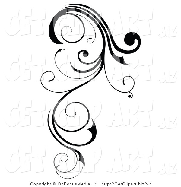 Clip Art of a Long, Black Swirling Design Element Scroll