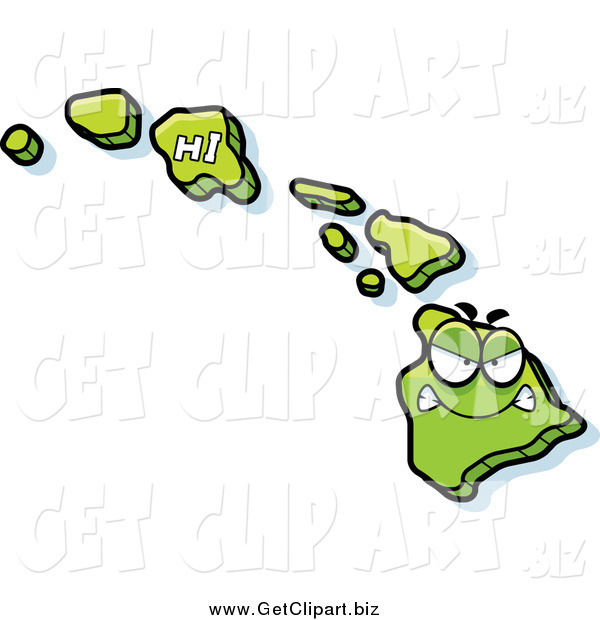 Clip Art of a Mad Green Hawaii Character