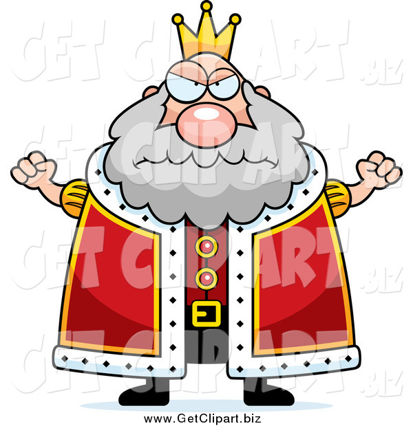 Clip Art of a Mad Plump King Holding up Fists