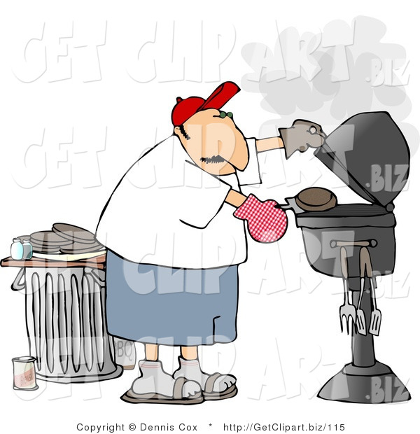 Clip Art of a Male Bad Cook Putting a Hamburger on a Smoking Barbecue (BBQ) Grill