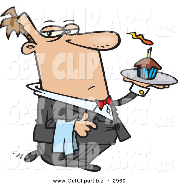 Clip Art of a Male Caucasian Butler Carrying a Cupcake with a Lit Candle on a Tray and Facing Right