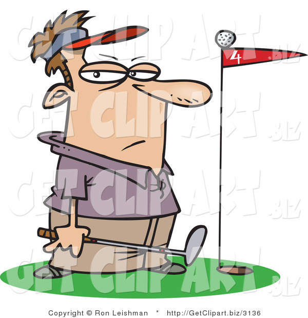 Clip Art of a Male Golfer Standing by a Golf Ball on Top of a Red Flag Blocking the Hole