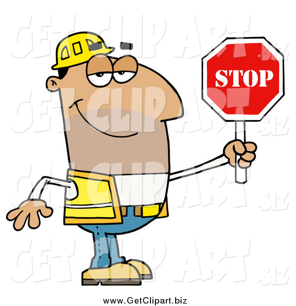 Clip Art of a Male Hispanic Traffic Director Holding a Stop Sign
