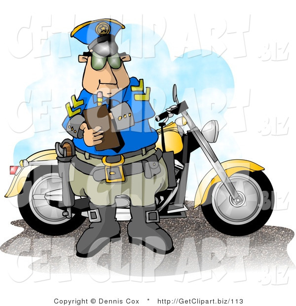 Clip Art of a Male Motorcycle Policeman Filling out a Traffic Citation/Ticket Form