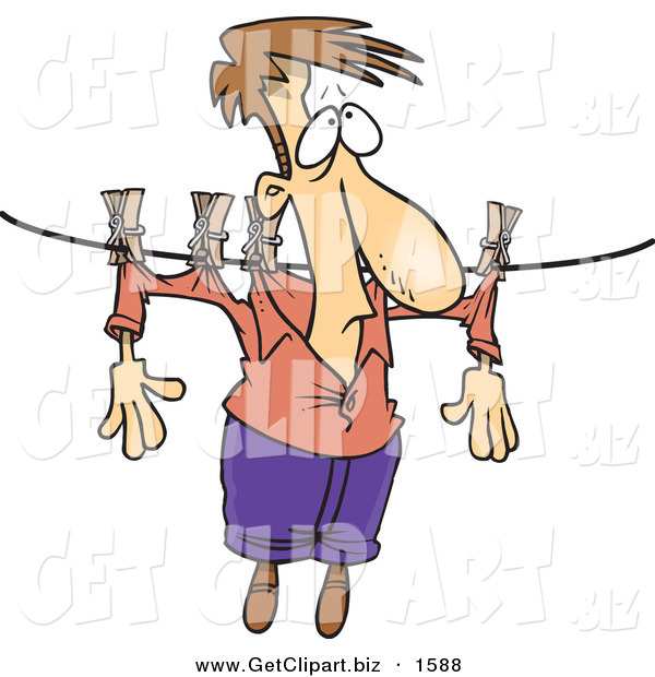 Clip Art of a Man Hanging on a Clothes Line to Dry over White