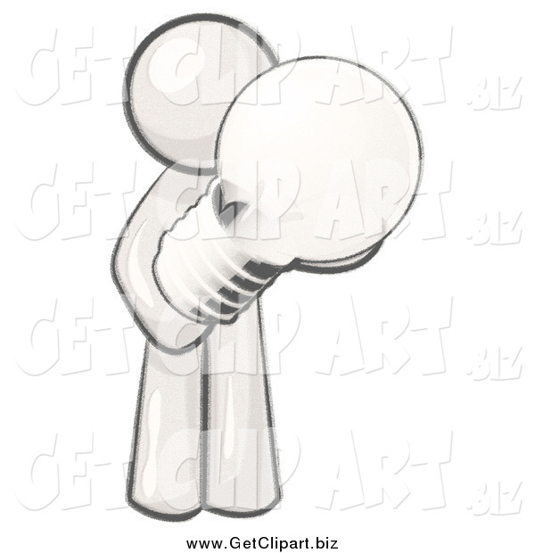 Clip Art of a Man Holding a Glass Electric Lightbulb