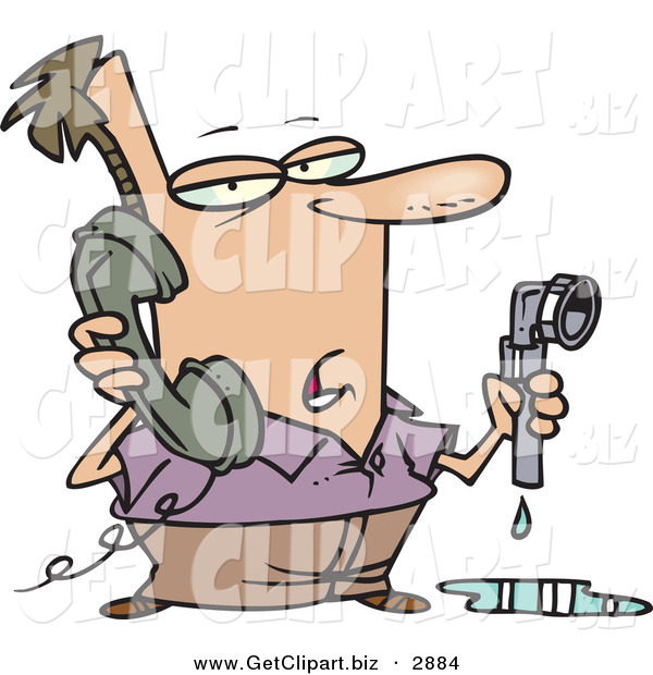 Clip Art of a Man with a Leaky Pipe, Calling a Plumber for Assistance