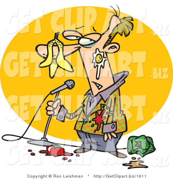 Clip Art of a Middle Aged Stand up Comedian White Man with Food Being Thrown at Him