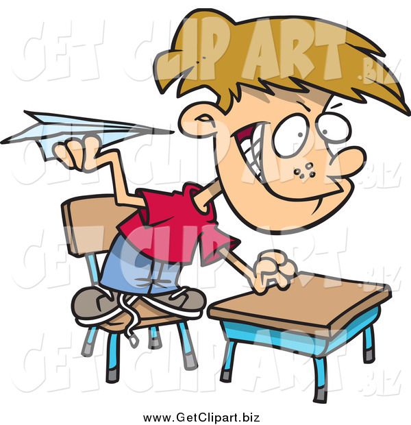 Clip Art of a Mischievous School Boy Throwing Paper Planes in Class