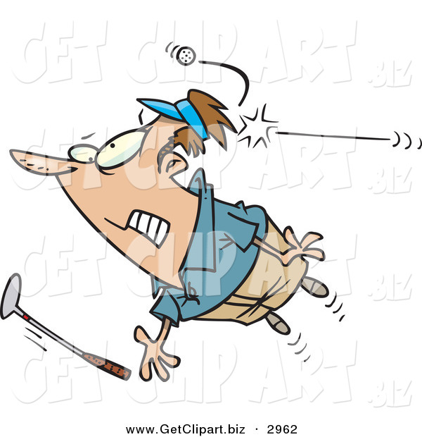Clip Art of a Nervous Male Golfer Being Hit by a Golf Ball