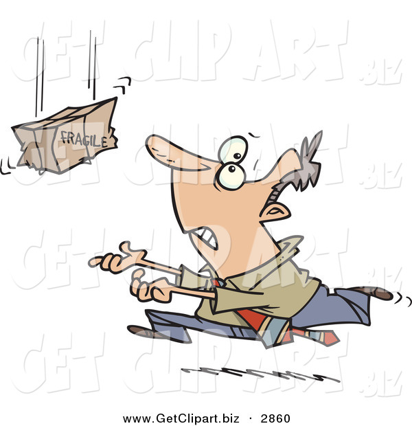 Clip Art of a Nervous White Business Man Rushing to Catch a Falling Fragile Package