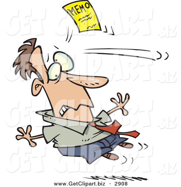 Clip Art of a Nervous White Businessman Being Attacked by a Yellow Memo Paper