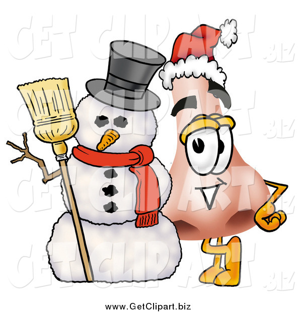 Clip Art of a Nose Character with a Snowman