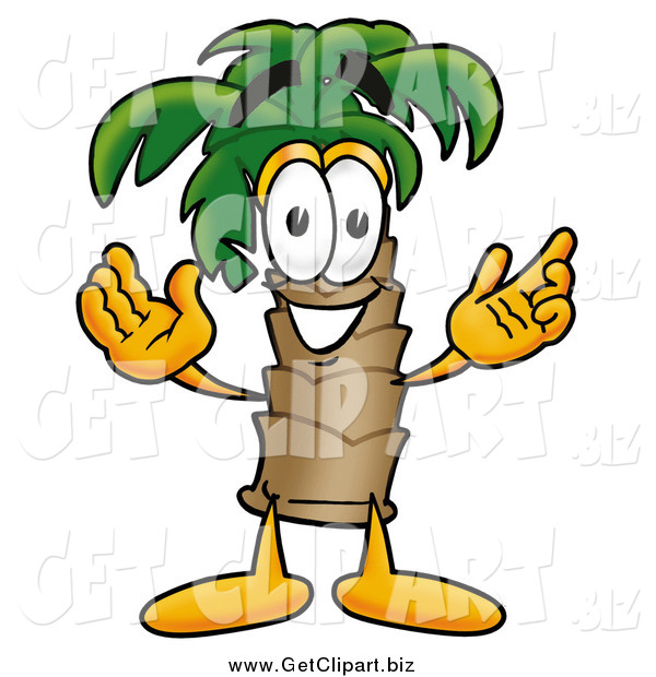Clip Art of a Palm Tree Guy