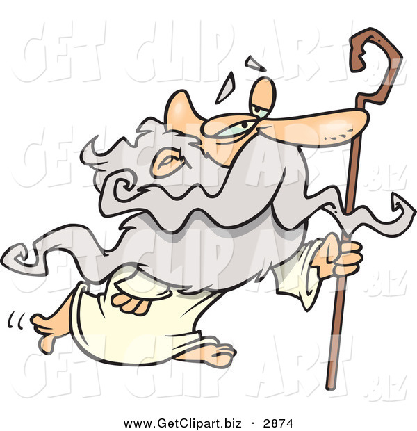 Clip Art of a Personification of a Gray Haired Senior Man, Father Time, in a Robe, Walking with a Cane