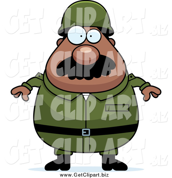 Clip Art of a Plump Black Army Man with a Mustache
