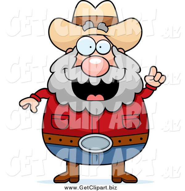 Clip Art of a Plump White Male Prospector with an Idea