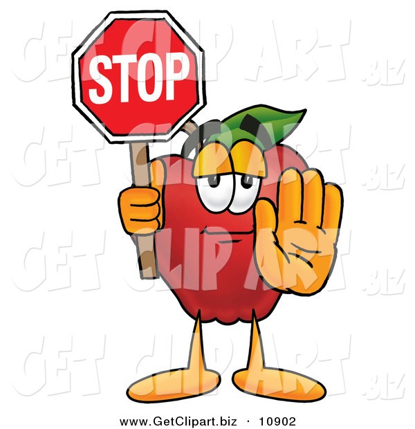 Clip Art of a Red Apple Character Mascot Holding a Red Stop Sign, Halting the Viewer