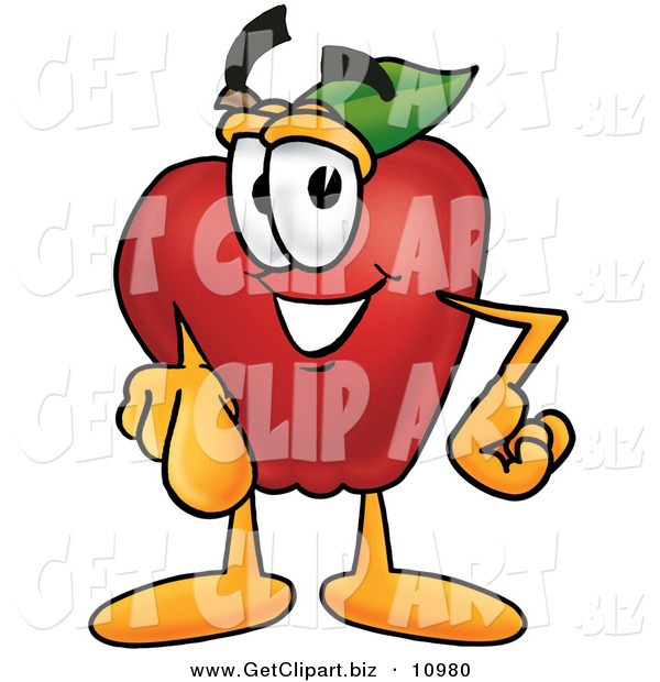 Clip Art of a Red Apple Character Mascot Pointing at the Viewer on White