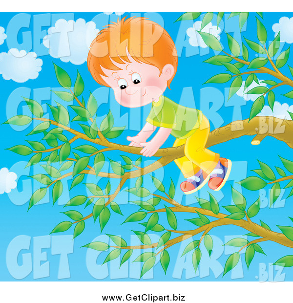 Clip Art of a Red Haired Boy on a Tree Branch