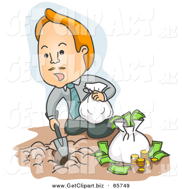 Clip Art of a Red Haired Caucasian Businessman Burying His Money in the Dirt