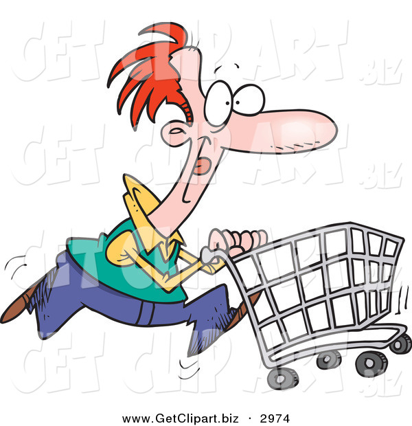 Clip Art of a Red Haired Caucasian Man Pushing a Shopping Cart in the Store