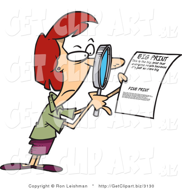 Clip Art of a Red Headed Woman Using a Magnifying Glass to Read the Fine Print on a Document