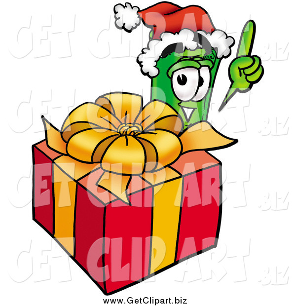 Clip Art of a Rolled Money Character Standing by a Christmas Present