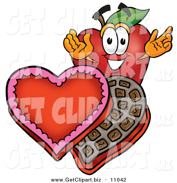 Clip Art of a Romantic Grinning Red Apple Character Mascot with an Open Box of Valentines Day Chocolate Candies