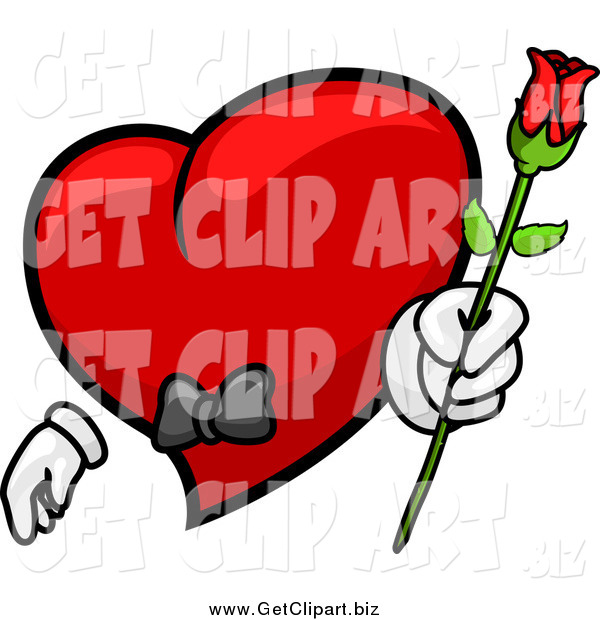 Clip Art of a Romantic Red Heart Character Holding out a Rose